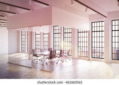 Large office interior in contemporary New York. Transparent room in center. Big table surrounded by chairs. Windows and ceiling lights. Concept of corporate work. Mock up. 3d rendering. Toned image.