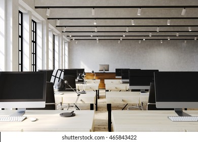 Large office room with lots of computers on wooden desks. Concept of teamwork. 3d rendering. Mock up