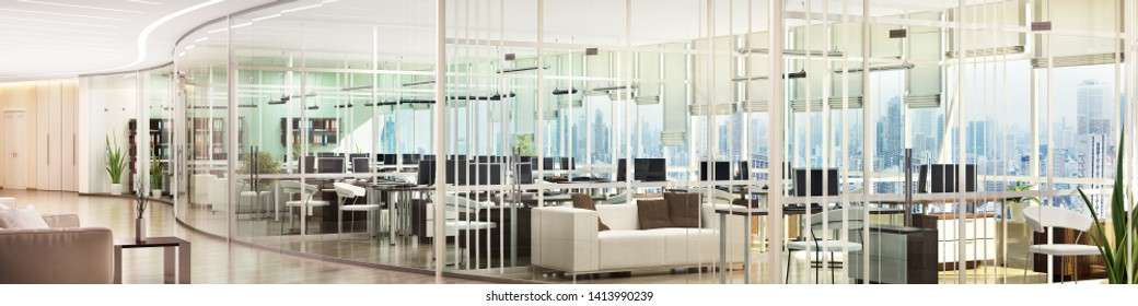 Large open office space with glass partitions. 3d rendering