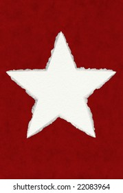 A large paper star with true deckled edges on a red background; includes a clipping path.