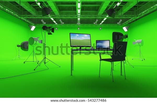 Gran Pabellón Interior de Moderno Estudio de Cine con Pantalla Verde y Equipo Ligero. Representación 3D