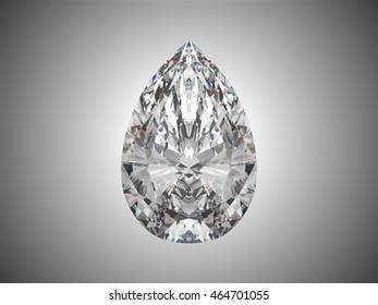 Large pear cut diamond 3d render
