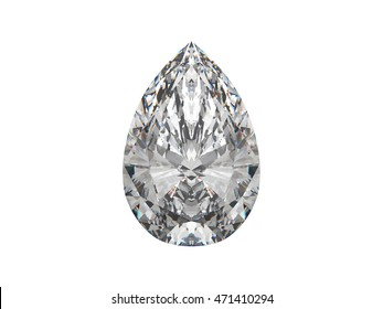 Large pear cut diamond isolated on white. 3d rendering. 3d illustration