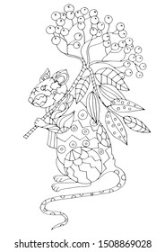 A large rat holds a bunch of mountain ash in a paw over his shoulder. The mouse is wrapped in a scarf. Hand drawing coloring for kids and adults. Beautiful drawings with patterns and fine details.