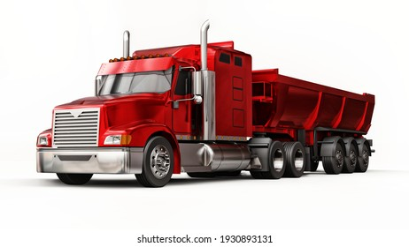 Large red American truck with a trailer type dump truck for transporting bulk cargo on a white background. 3d illustration