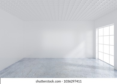 Large room with windows and falling light from the window to the floor. 3D rendering.