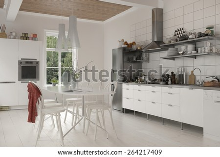 Large Rustic Live Kitchen Table Chairs Stock Illustration 264217409