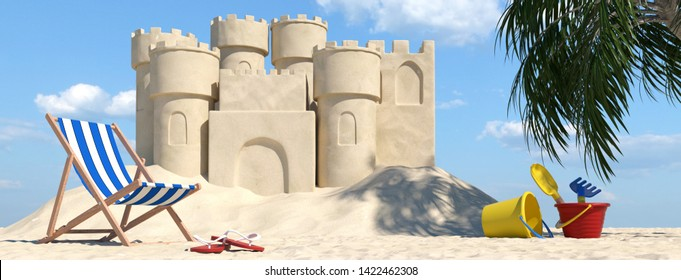 Large sandcastle on the beach in the Caribbean next to deck chair and sand toys (3d rendering)