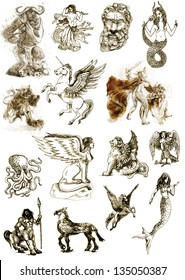A large series of mystical creatures isolated on white - According to ancient Greek myths. /// Full sized hand drawings.