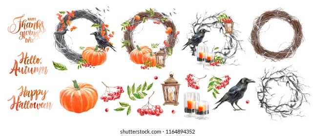 """a large set for creating postcards and frames for the autumn holidays - Halloween, Thanksgiving, """"hello autumn"""", isolated watercolor elements for decoration, lettering"""