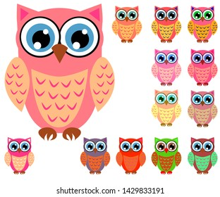 Large set of cute multicolored cartoon owls for children, different designs, trendy coral color included