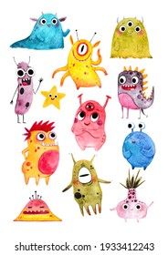 A large set of cute watercolor aliens. This illustration is suitable for decorating the walls in the children's room, as well as for funny greeting cards and stickers. A set of hand-drawn monsters.