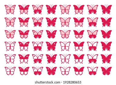 Large set of forty eight red nice butterflies with hearts isolated on a white background. Silhouette of a butterfly is perfect for stickers, icons, greeting cards and gift certificates