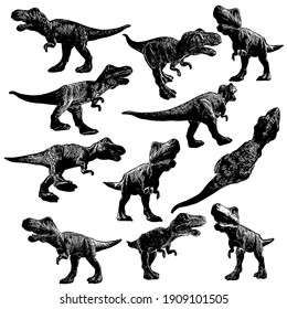 A large set with silhouettes of dynamo-doseworming tyrannosaur. Templates for designers. illustration.