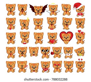 a large set of small dogs from 32 puppies with different emotions and objects. Golden retriever