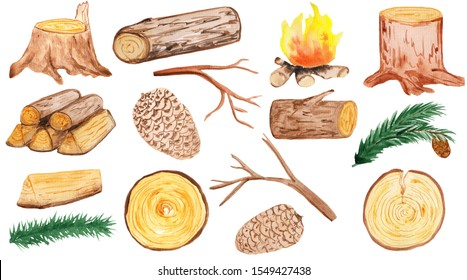 a large set of wooden elements - stump, cones, pine branches, firewood, branches, logs and round saw cuts. aqua illustration for prints, design and cards. hike and walks, eco style. rustics