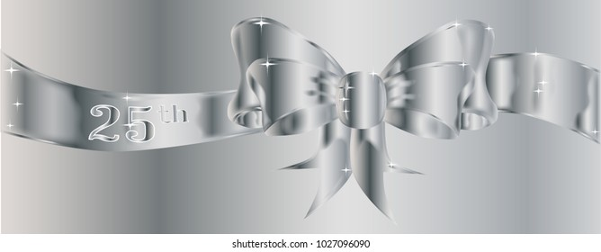 A large silk ribbon tied into a bow with a silver background with a few sparkles and the text 25th