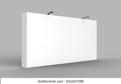 Large Size Straight Exhibition Tension Fabric Display Banner Stand Backdrop for trade show advertising stand with LED OR Halogen Light. 3d render illustration.