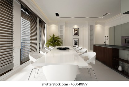 Large spacious luxury white dining room interior with an elegant table and chairs and open plan fitted kitchen with bar counter and a row of large windows covered with blinds, 3d rendering