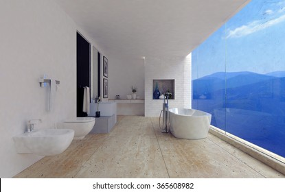 Large spacious modern bathroom interior with a stunning view of mountain ranges through a panoramic floor-to-ceiling window in a luxury home. 3d Rendering.