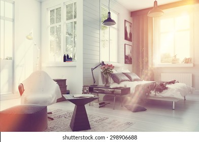 Large spacious modern bedroom interior with grey and white decor, a double divan bed, comfortable seating and numerous windows. 3d Rendering.