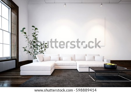 Large Spacious Modern Minimalist Living Room Stock Illustration Awesome Large Living Room Window Minimalist