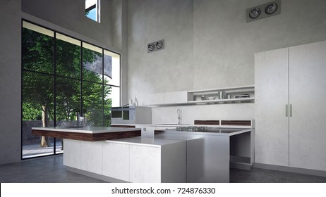 Large spacious modern monochromatic white luxury kitchen interior with built in appliances and cabinets and a large window overlooking a green garden. 3d Rendering