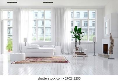 Large spacious monochromatic white bedroom with fireplace, a double bed and large view windows with long elegant drapes in a luxury apartment. 3d Rendering.