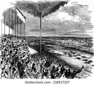 The large stand during a race, vintage engraved illustration. Journal des Voyage, Travel Journal, (1879-80).