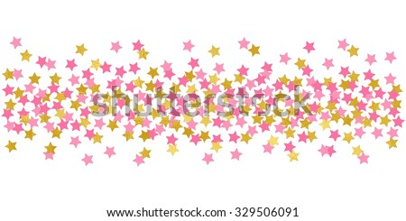 Large Stars Pink And Gold Confetti Border Illustration Bright Sparkle Design Element For Tags