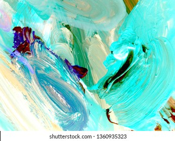 Large strokes of acrylic paint. shades of turquoise. Palette with paint close-up. Background of delicate pastel tones. Medium Turquoise, Blue, Persian Green color.