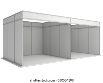 Large Trade Show Booth with Two Segments. White and Blank. Blank Indoor Exhibition with Work Paths. 3d render isolated on white background. High Resolution Ad Template for your Expo design.