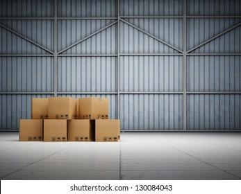 Large trucking warehouse with cargo