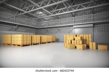 Large trucking warehouse with cargo (warehouse, hangar, industrial). 3D rendering.