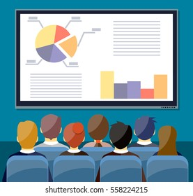 large tv screen with chart pie do presentation to other business people. Training staff, meeting, report, business school. illustration in flat style. Raster version