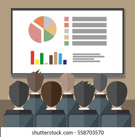 large tv screen with chart pie do presentation to other business people. Training staff, meeting, report, business school. illustration in flat style