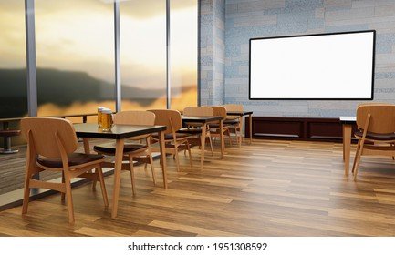 A large TV screen mounted on a wall in a restaurant or coffee shop. A large plasma TV in a restaurant. Fresh beer in a clear glass on the dining table. 3d rendering.