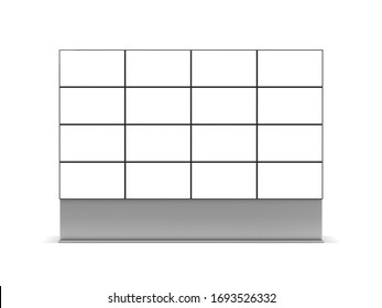 Large Video Wall Mockup, Tv Panels Stand isolated on white background, 3d rendering