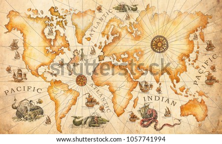 Large Vintage Map Of The World.Royalty Free Stock Illustration Of Large Vintage Ancient World Map