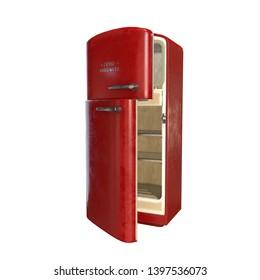 large vintage red fridge 3d illustration rendering isolated white background
