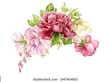 Large watercolor bouquet with roses, peonies, flowers of a broken heart. Botanical illustration.