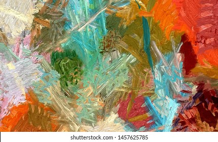 Large watercolor paint strokes on canvas. Simple modern art drawing. Multicolored background in oil painting style. Energy of bright colors. Hand made acrylic abstraction. Surreal impressionism print.