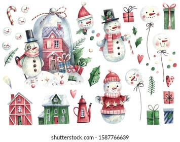 Large watercolor set of Christmas elements - snowmen, houses, snowballs, gifts, sweets, spruce branches, balloons. Hand-drawn watercolor illustration isolated on white background.