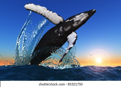 Large whale jumps out of the sea.