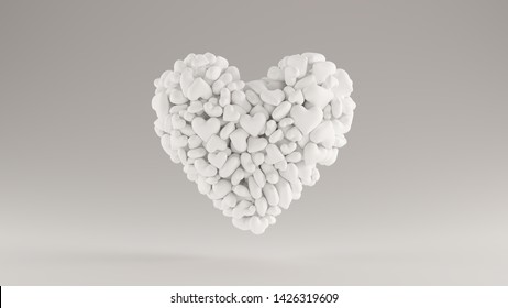 Large White 3d Heart Icon Made out of lots of Smaller Hearts 3d illustration 3d render