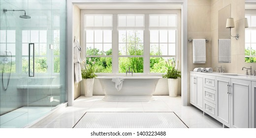 Large white bathroom with bath, large window, shower and two washbasins. 3d rendering