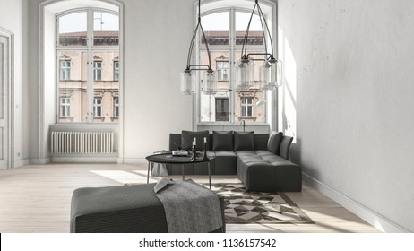 Large white living room with assorted black furniture and radiator below window revealing building outside. 3d Rendering