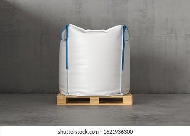 A large white sack on a pallet. 3d render