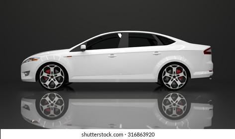 Large white sedan on black background. Raster illustration. The three-dimensional look.