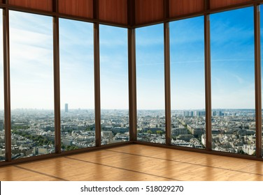 Large Windows in the room. City view from the window. 3D illustration